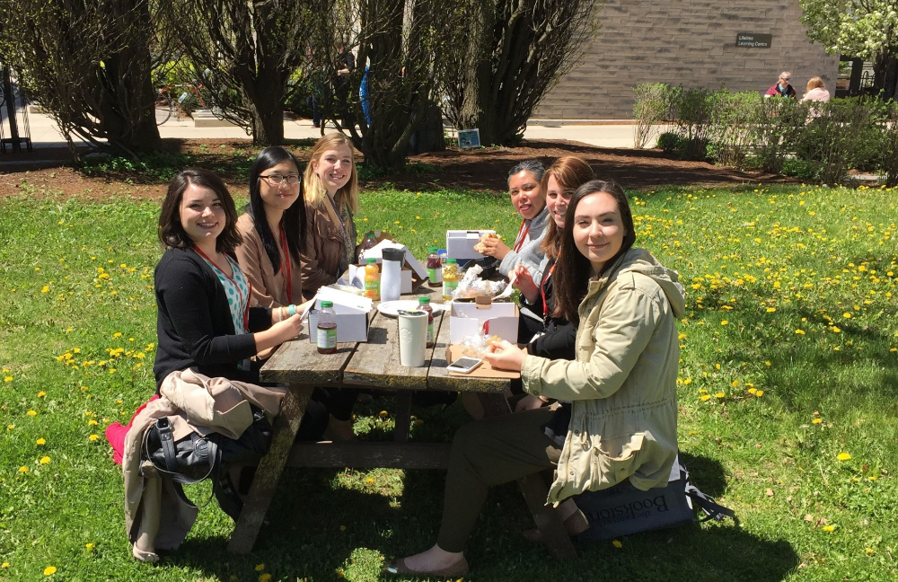 Enjoying a sunny lunch outside on the lawn. Just missing Gabrielle and Emma.