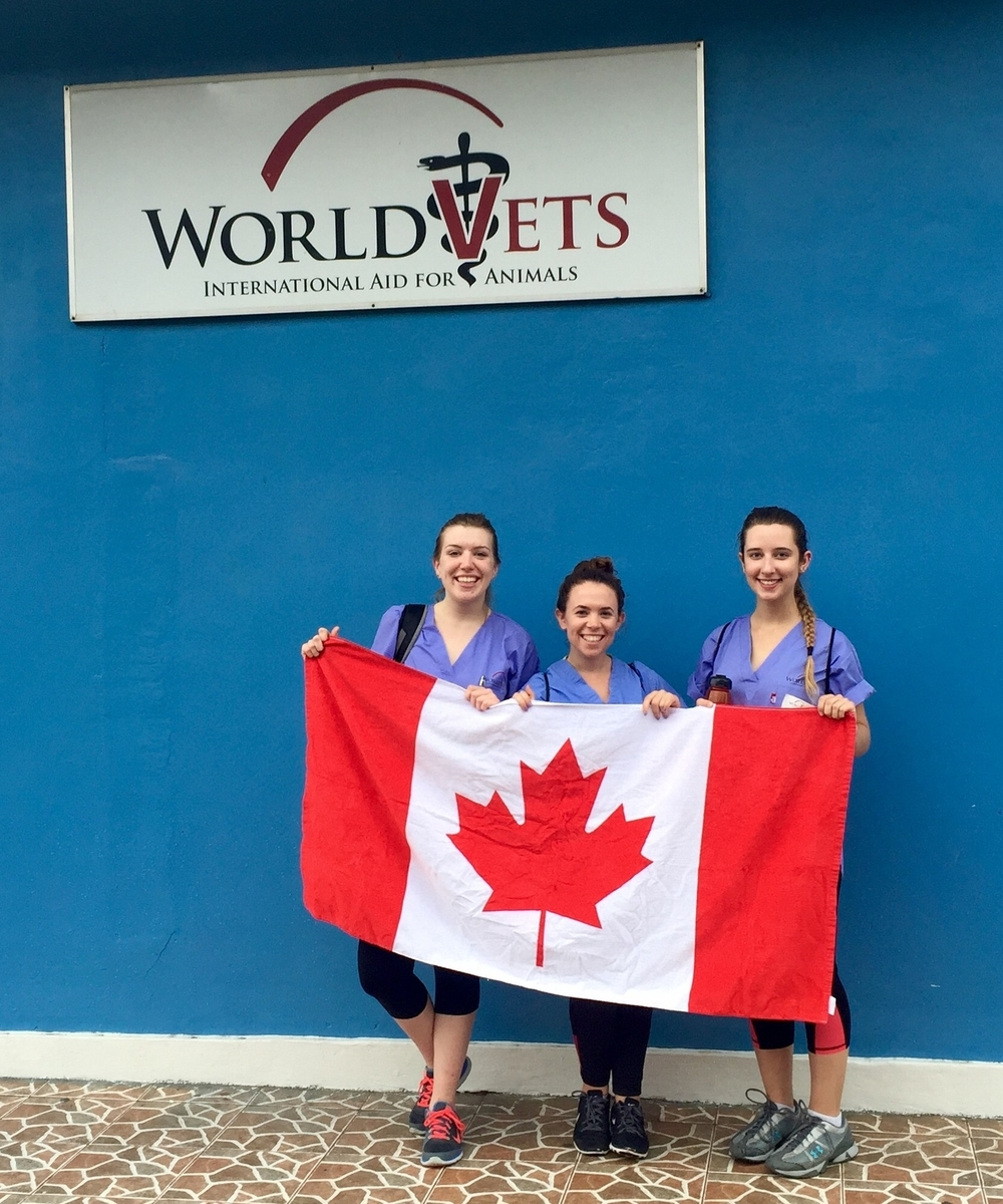 Here is a photo of myself and two friends (also from the University of Guelph) holding up our flag on Canada Day in Nicaragua.