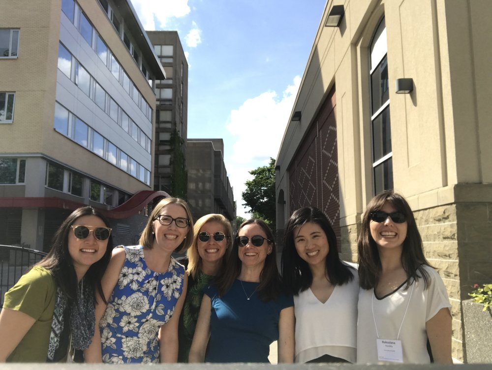 Members of the math.epi.lab at the end of the Centre for Public Health and Zoonosis Annual Research Symposium in June 2018. From left to right: Elissa Giang, Dr. Amy Greer, Melanie Cousins, Emma Gardner, Wendy Xie, and Roksolana Hovdey.