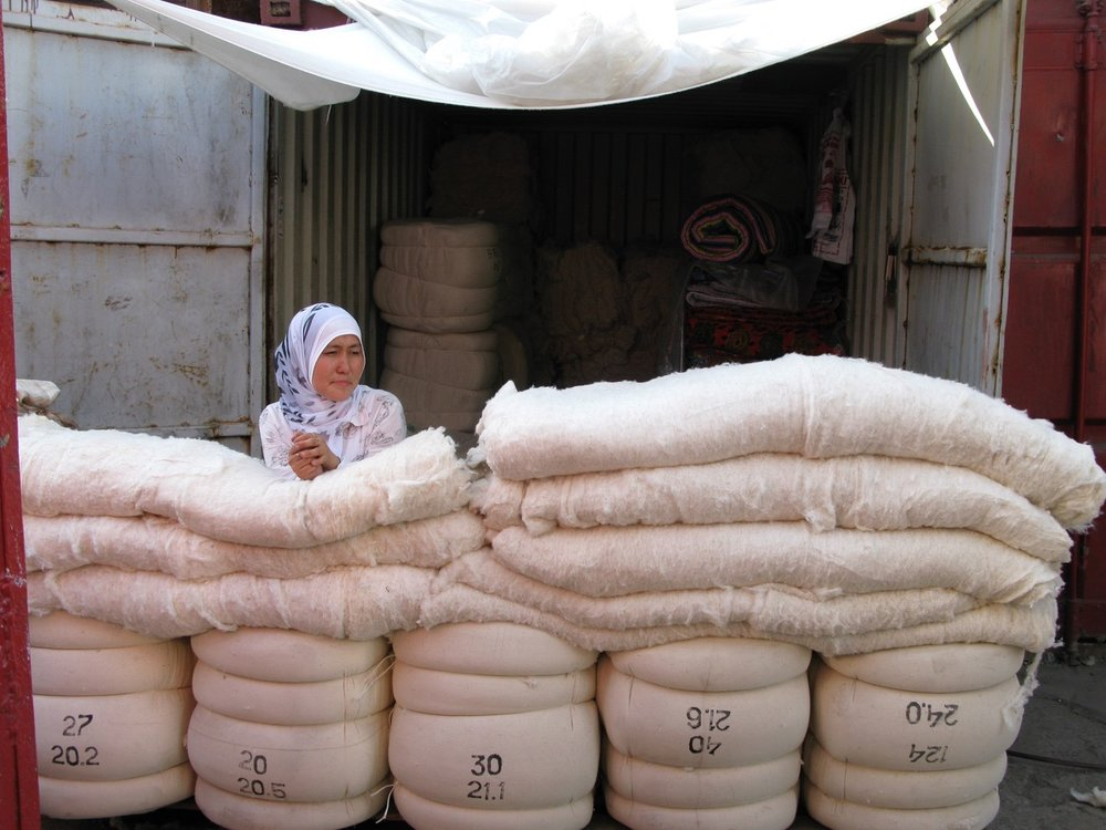 Bishkek, Kyrgyzstan. Bazaar, selling cotton stuffing for quilts