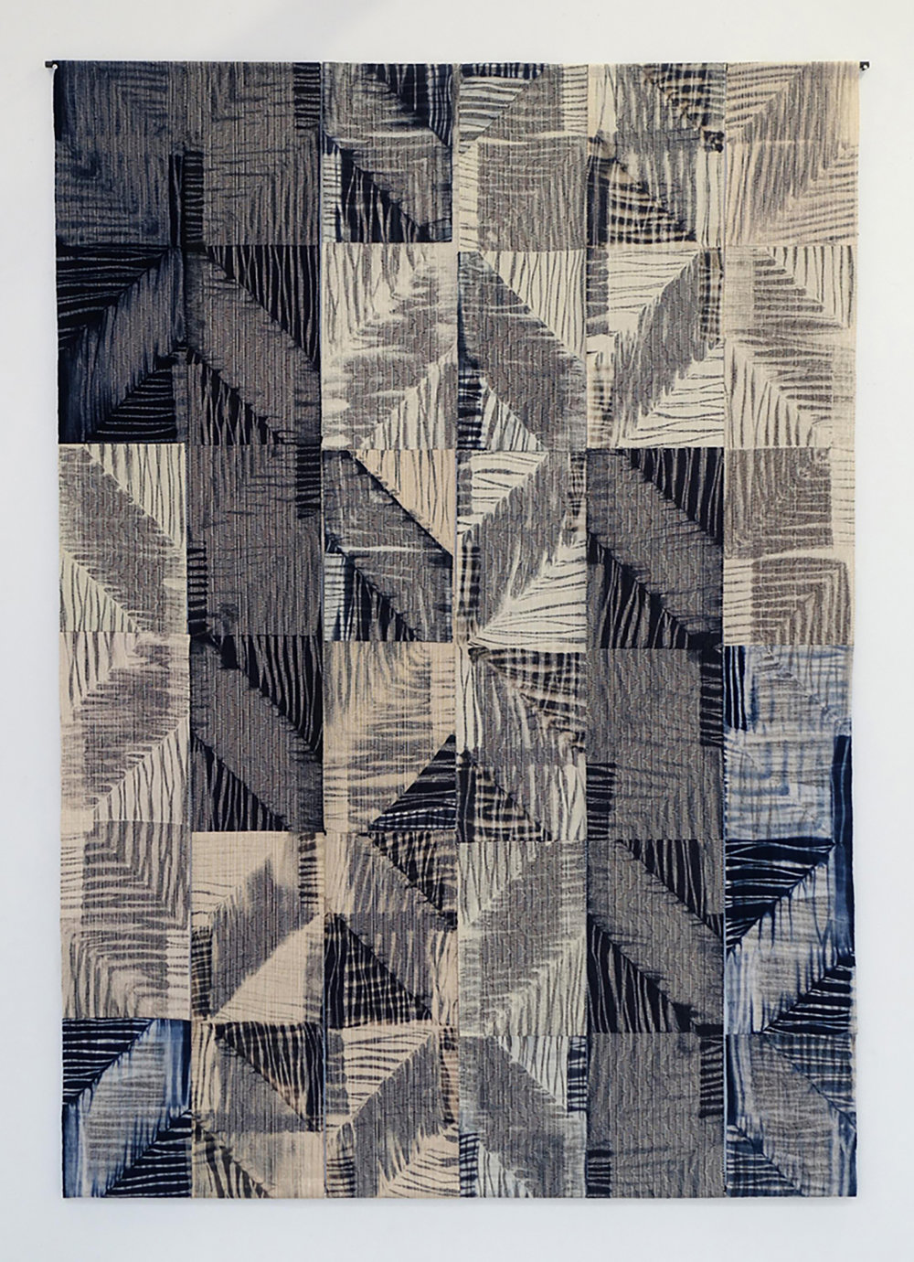 "Return,  Shibori Resist Dyeing, Handwoven Cotton 87""x61""  Photo Credit: Mark Gulezian"