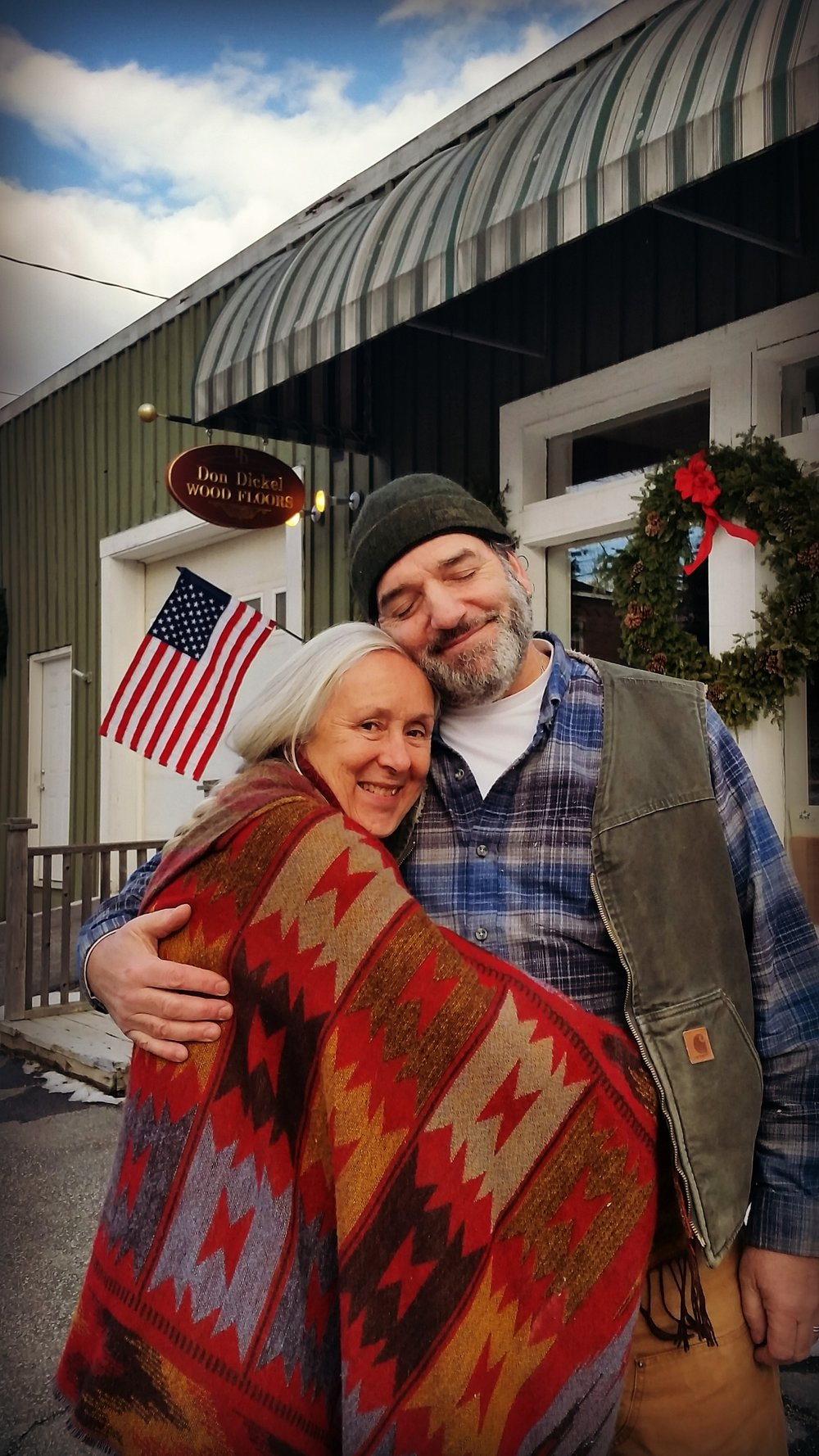 Rebecca & Z photographed in front of Z's workshop/showroom in Winterport, Maine.