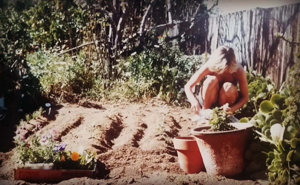(me in my first garden in So. Cal. @1986)   Blessings of the Green & Wild Deborah Fay