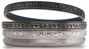 Top to bottom: Bond Street, Spring Street, Baxter Street, and Ludlow Street bangles. $250 each/$900 for stack of 4.