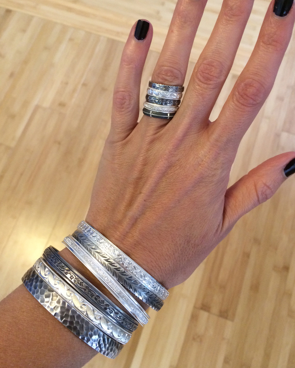 STACKED New York Argentium silver stackable bands (top to bottom): Prince, Lenox, Spring, Chrystie, and Market. STACKED New York Argentium silver stackable bangles (top to bottom): Mercer, Prince, Chrystie, Spring, Lenox, and Houston.