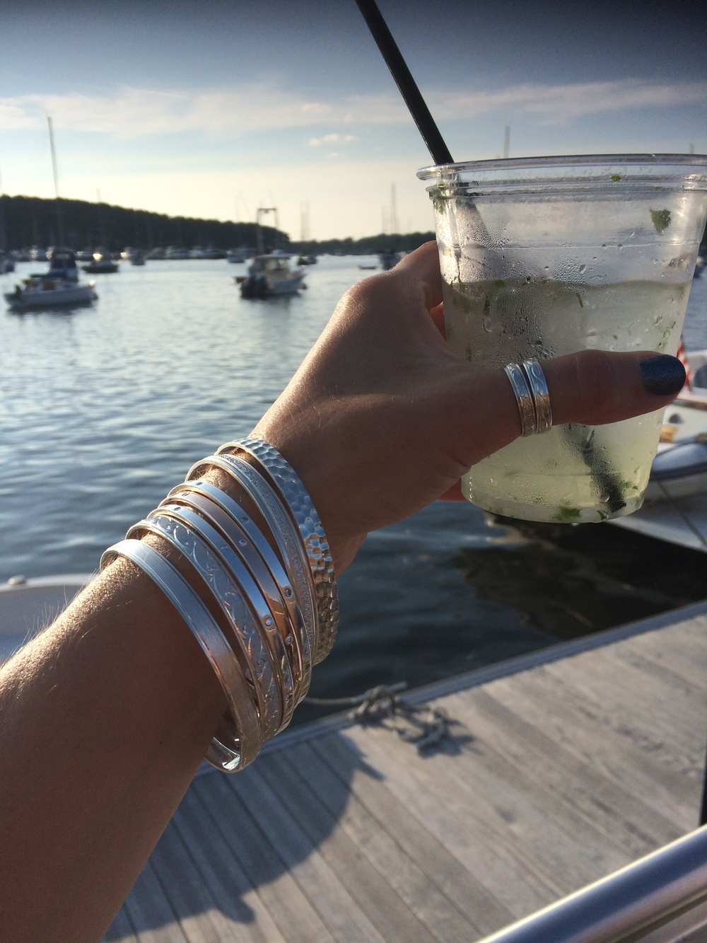 Our stackable Argentium silver bangles and silver stacking rings are proudly made in beautiful Long Island, New York. And that deserves a Cheers!