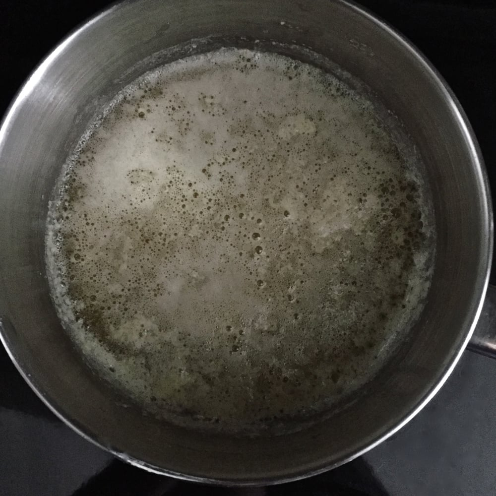 The second foaming I refer to in my recipe below is shown here. The more translucent, bubblier bits in the middle of the saucepan, is the second foam. The first foam is in the upper left corner of the saucepan and not as translucent.