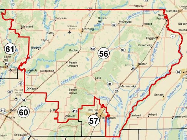 District 56 in the extreme north east of the state