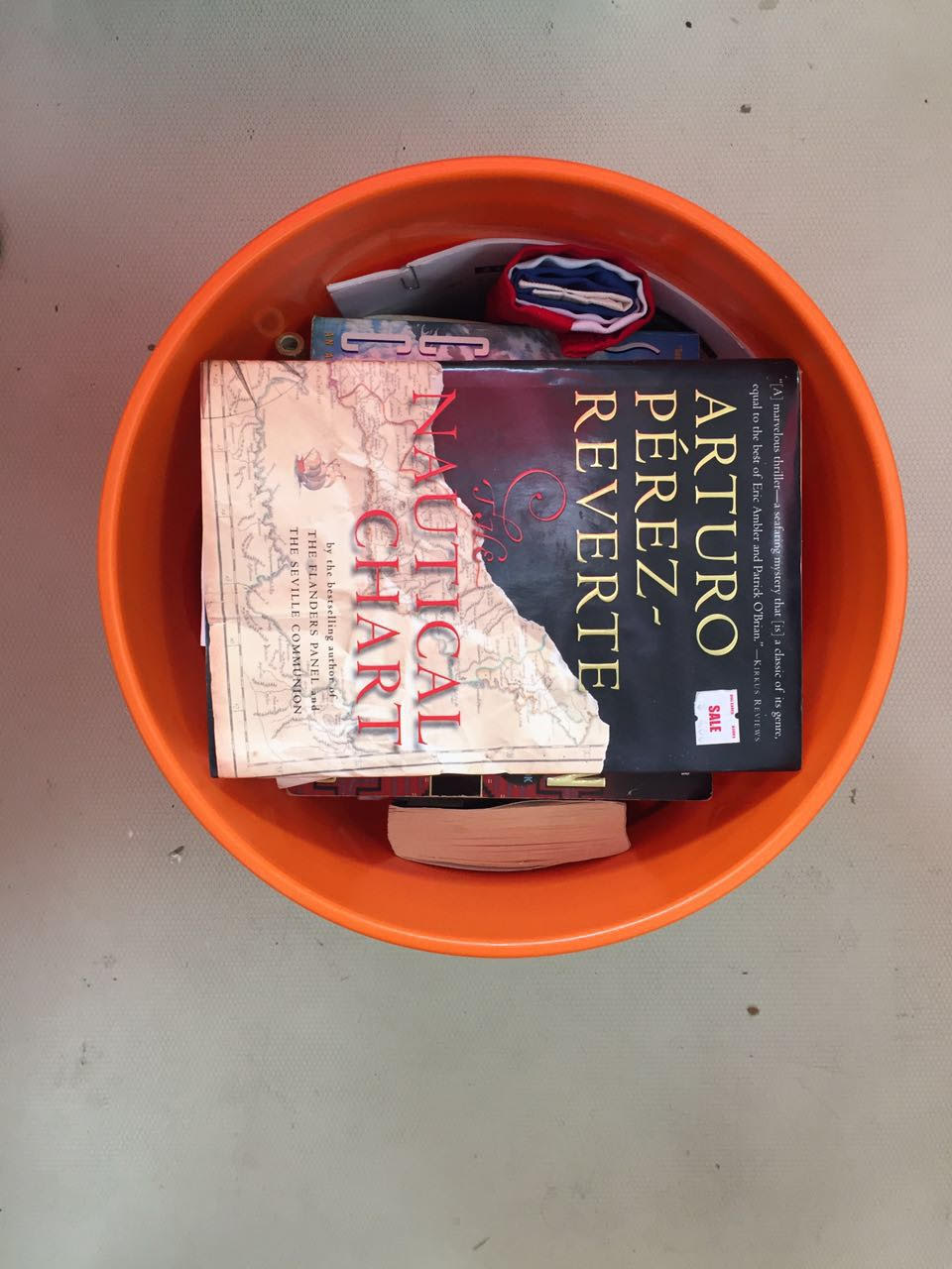 Bucket of books..