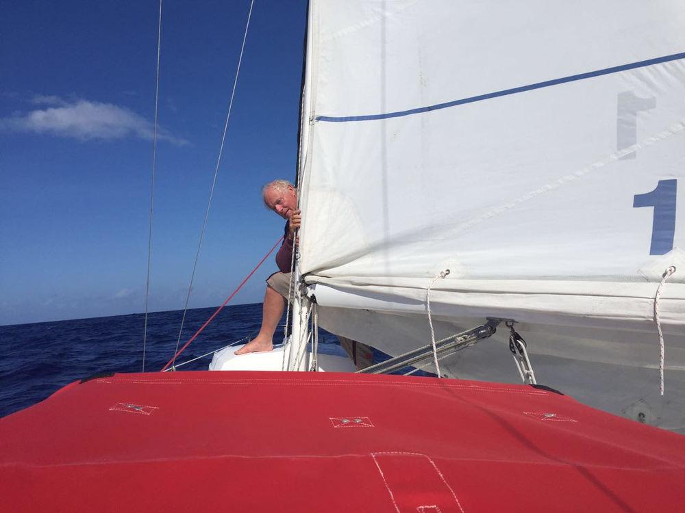 The best first mate, Ric; always peeking around the corner..