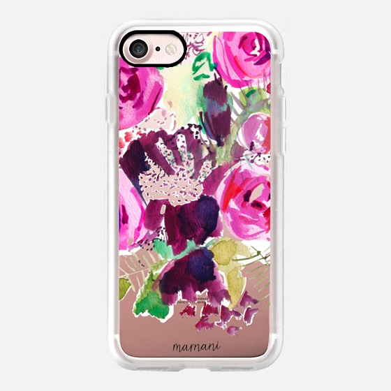 Phone Case : ALL SIZES TRANSPARENT CASE : WATERCOLOR FLORALS