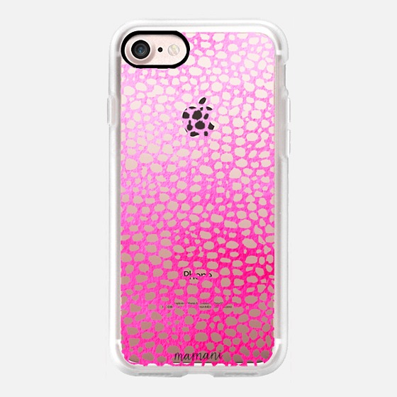 Phone Case : ALL SIZES TRANSPARENT CASE : OMBRE FUCHSIA LACE