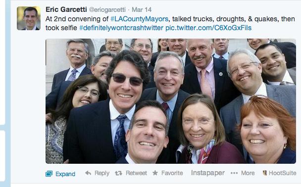Eric Garcetti group selfie