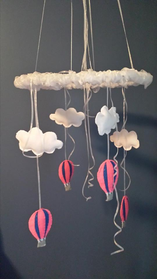 Hot air balloon mobile made for baby E!