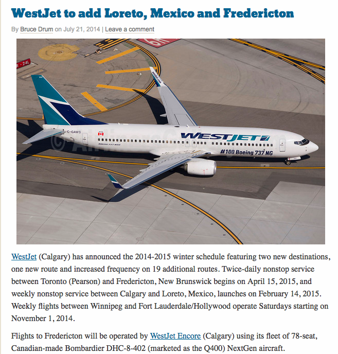 Westjet Loreto announcement.jpg