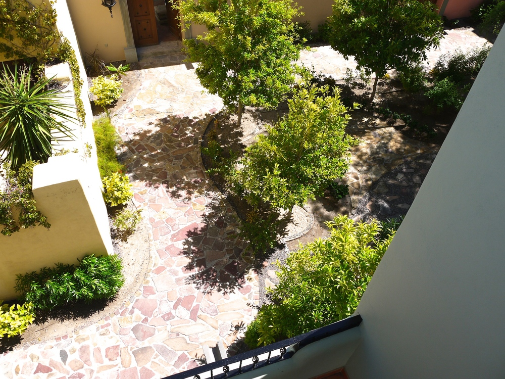 Garden courtyard behind Casa Buena Vista, shared with neighbors