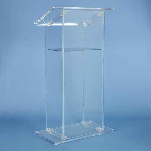 "LARGE ACRYLIC LECTERN: HEIGHT 47.5"" / TOP 26.75"" x 15"" / SHELF 17"" x 11.5"" x 4"" /  BASE 26.75"" x 14.75""  / BODY 18.75"" /  Dimensions 26.75"" x47.5"" x15"". SMALL ACRYLIC LECTERN: HEIGHT 45.125"" / TOP 27"" x 15.25"" / BASE 25"" x 14.875"" / BODY 14.125"" /  Dimensions 45.125"" x 27"" x 14.875"""