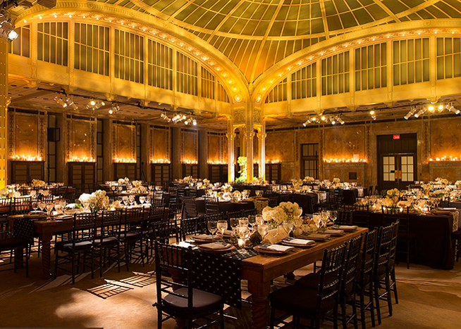 The dinner reception in The Bartos Forum of The New York Public Library