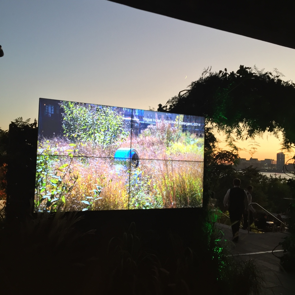 One of two 2x2 Barco video walls we installed - one at each end of the dinner reception - featuring a rotating slide show of public arts projects supported by the benefit's funds