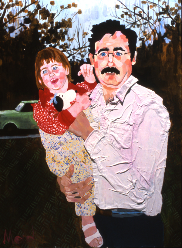 "Mike Donahue and child, acrylic on canvas 36"" X 48"""