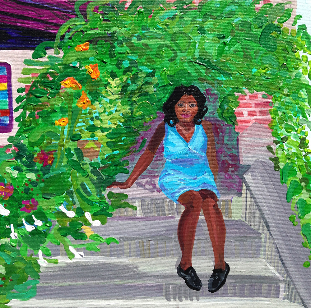 Monica and her Brooklyn stoop garden