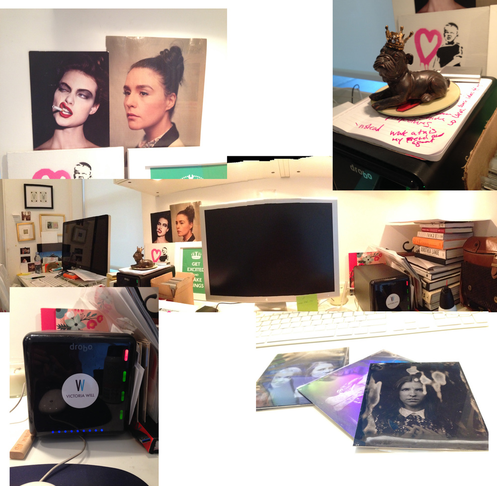(Upper right) Inspiration Portraits, (Upper left) Statue of French Bulldog, (Center) Panorama of desk, (Lower left) Drobo Backup, (Lower right) Tintypes.