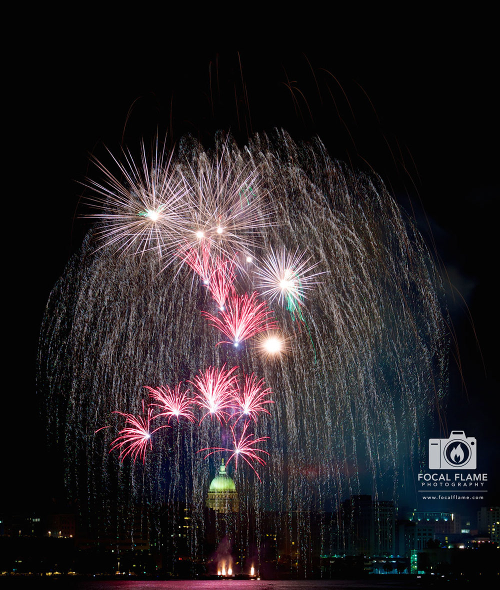 Rhythm and Booms transformed the Madison, WI skyline - offering an amazing opportunity for fireworks photography. (c) 2014 Focal Flame Photography | Photo credit: Clint Thayer