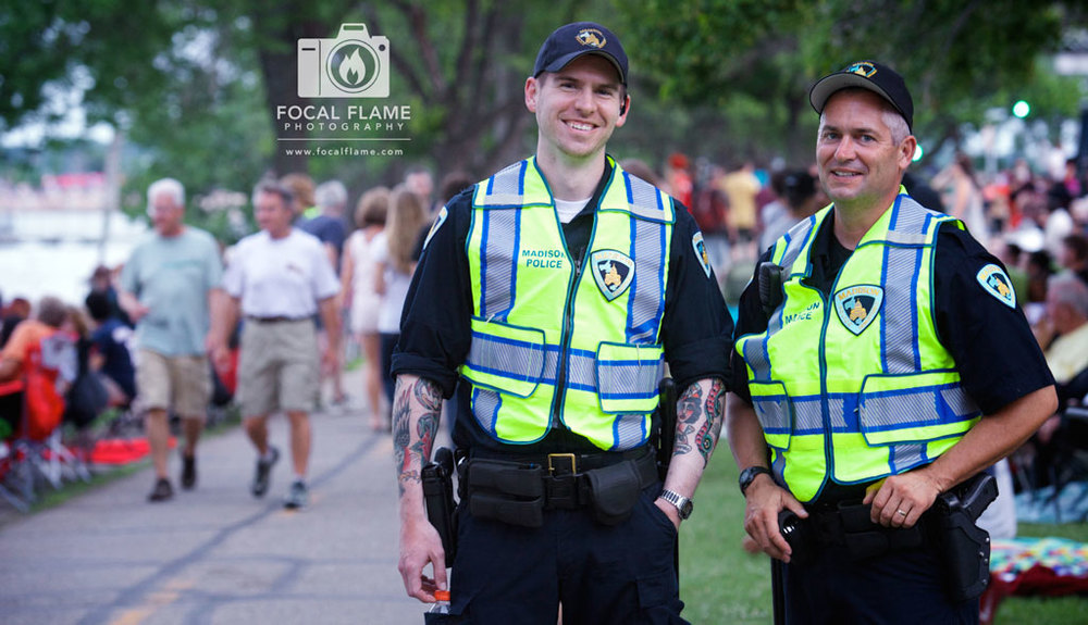 Officers from the Madison Police Department collaborated with organizers to develop traffic entry and exit plans, and make sure that everyone was safe during the event. (c) 2014 Focal Flame Photography | Photo credit: Clint Thayer