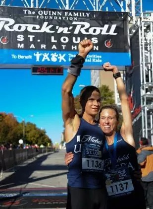 Emily Kurian and husband Joe Kurian celebrate at the Rock 'N Roll Marathon in St. Louis. Photo credit; David Mari