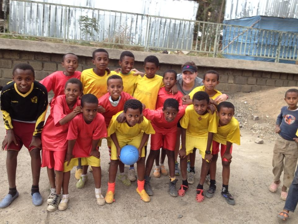 Children in Addis Ababa, Ethiopia. Photo taken by Jen during a volunteer medical service trip by Seattle Alliance Outreach, a medical nonprofit. Jen serves on the board of directors of the organization. She brought indestructible soccer balls for the youth to play with after seeing children using broken bottles and rolled-up dirty diapers for soccer games.