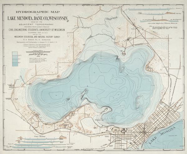 Hydrogeographic map of Lake Mendota, 1900