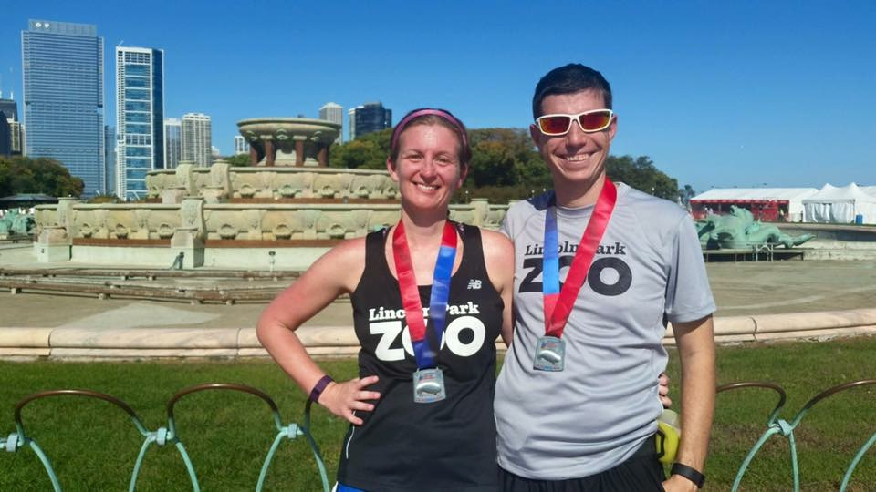 Post race smiles after the 2105 Chicago Marathon. Photo Courtesy Michelle Poelsterl