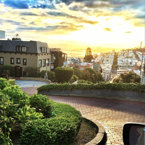 Lombard street from the top, looking towards the sunrise