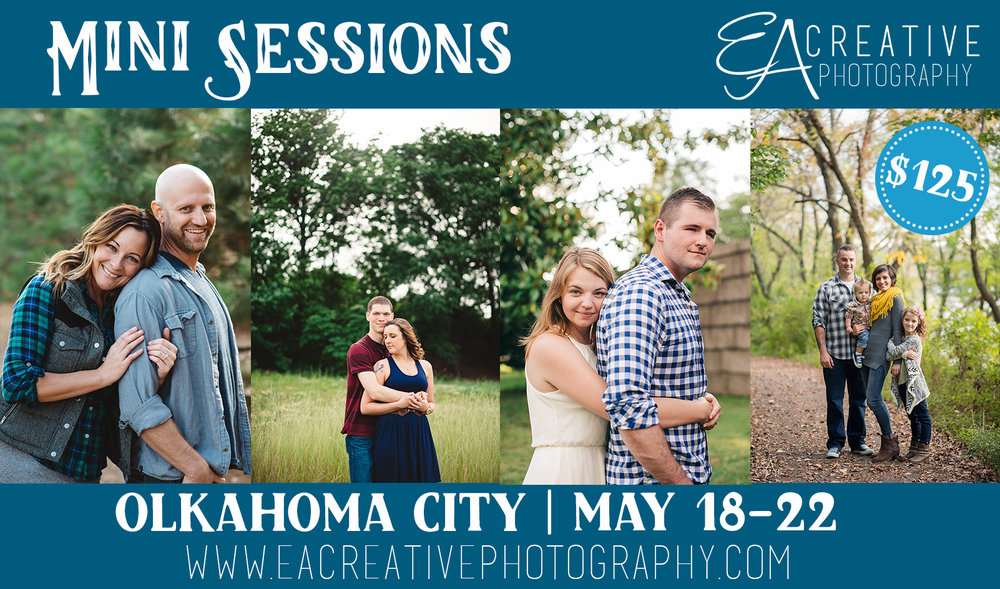 OKC Mini Sessions - I'll be in Oklahoma from the 18-22 and would love to schedule a session with you! Contact me today! See session details below...