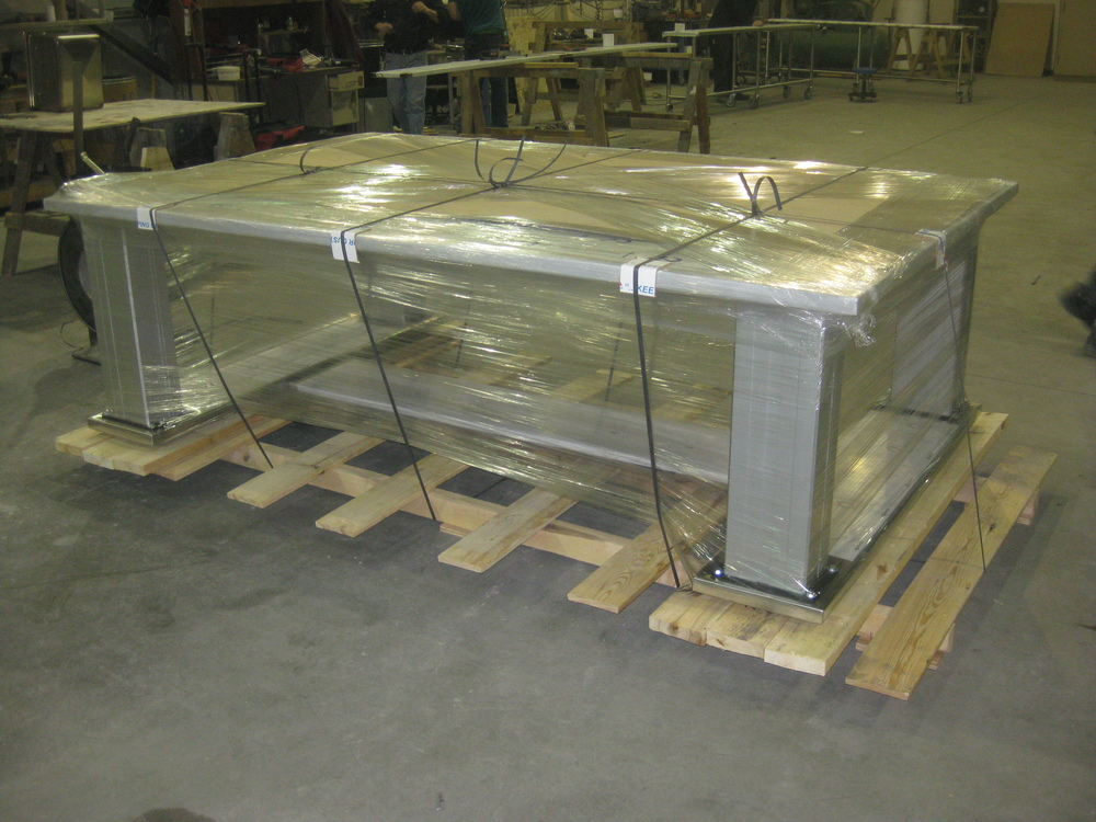 Custom table preparing to be shipped, able to lift 2000 lbs