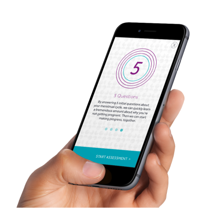 Conceivable's built in fertility assessment starts giving you fertility insights right away
