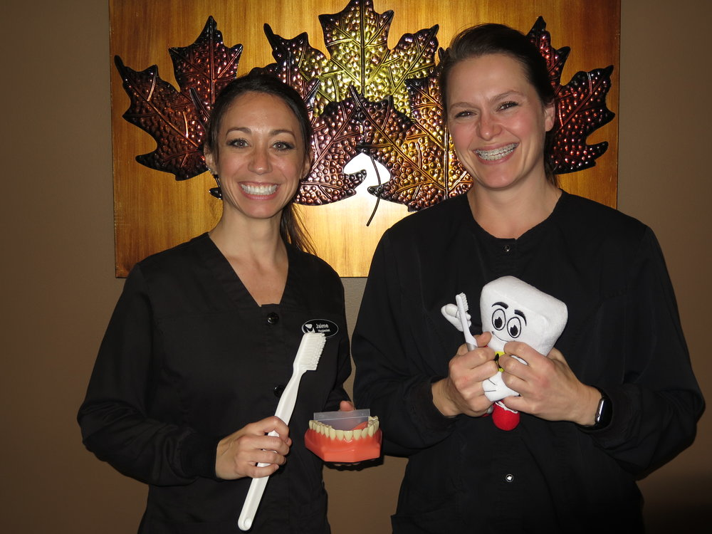 Our superb oral health educators, Jaime and Kati!