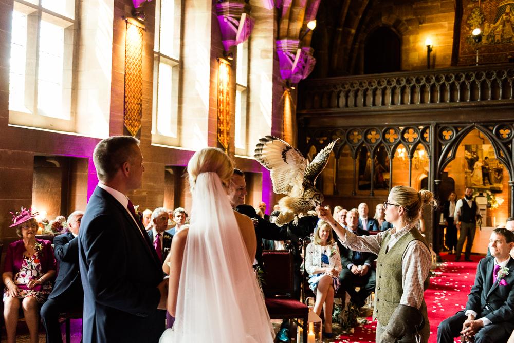 Castle Wedding at Peckforton Castle, Cheshire Owl Falconry Ian Stuart Bride Bandeoke - Jenny Harper Photography-43.jpg