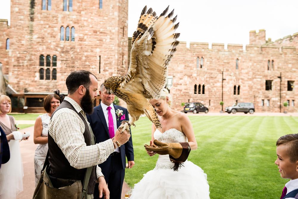 Castle Wedding at Peckforton Castle, Cheshire Owl Falconry Ian Stuart Bride Bandeoke - Jenny Harper Photography-55.jpg