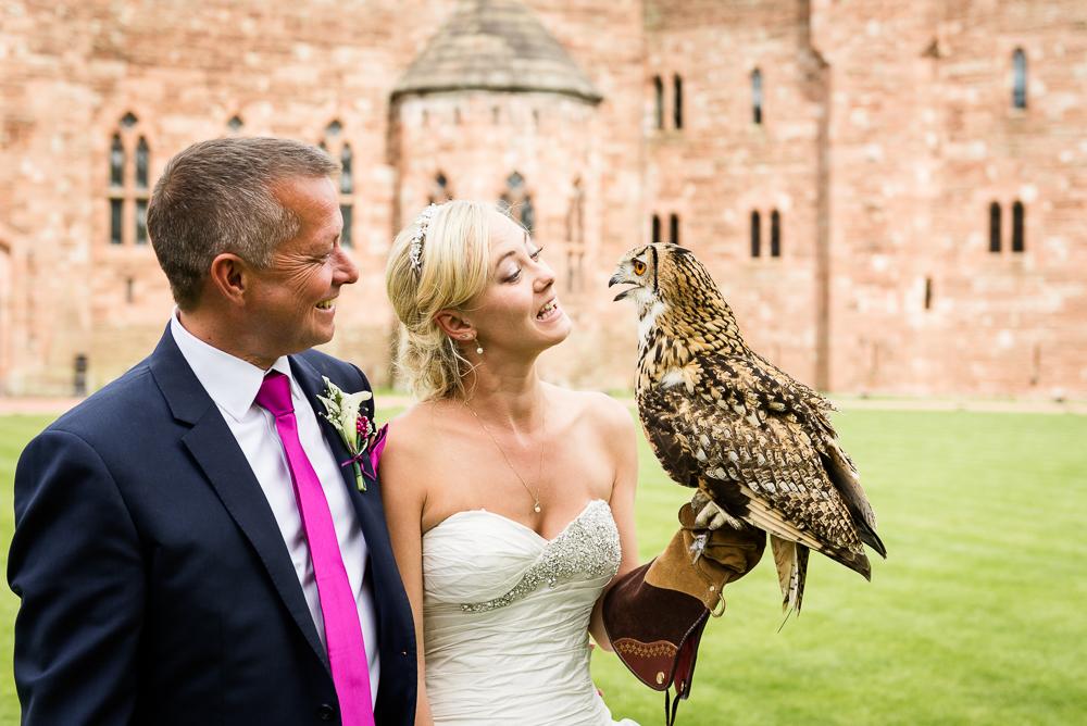 Castle Wedding at Peckforton Castle, Cheshire Owl Falconry Ian Stuart Bride Bandeoke - Jenny Harper Photography-56.jpg