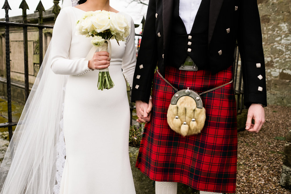 English Winter Wedding Photography at Somerford Hall, Staffordshire Red Bus Double Decker Kilts Bagpiper-34.jpg
