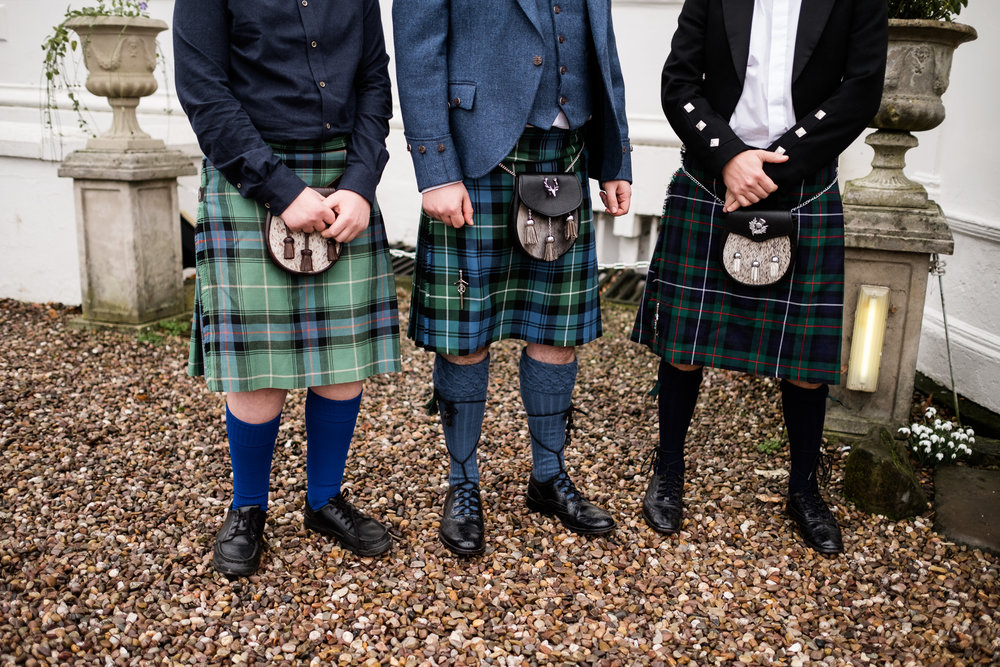English Winter Wedding Photography at Somerford Hall, Staffordshire Red Bus Double Decker Kilts Bagpiper-42.jpg