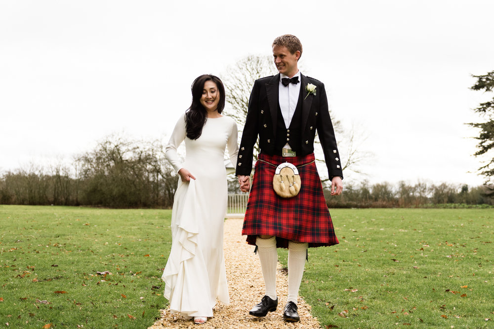 English Winter Wedding Photography at Somerford Hall, Staffordshire Red Bus Double Decker Kilts Bagpiper-47.jpg