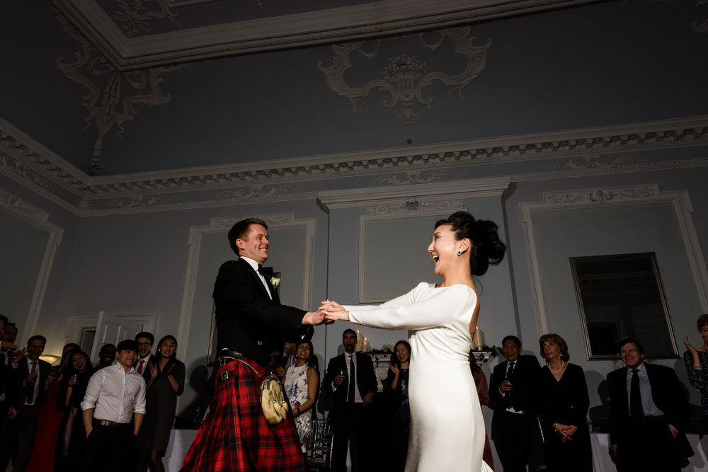 English Winter Wedding Photography at Somerford Hall, Staffordshire Red Bus Double Decker Kilts Bagpiper-65.jpg