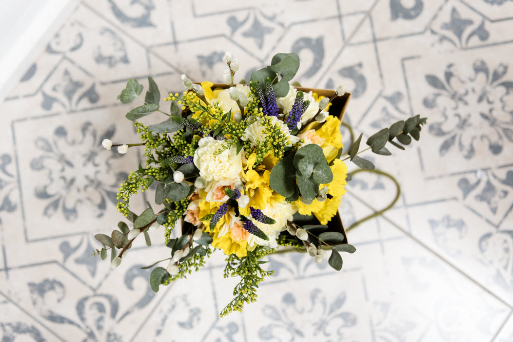 Stylish Sunny Spring Wedding at The Mill, Stone, Staffordshire Yellow Daffodills - Jenny Harper-10.jpg