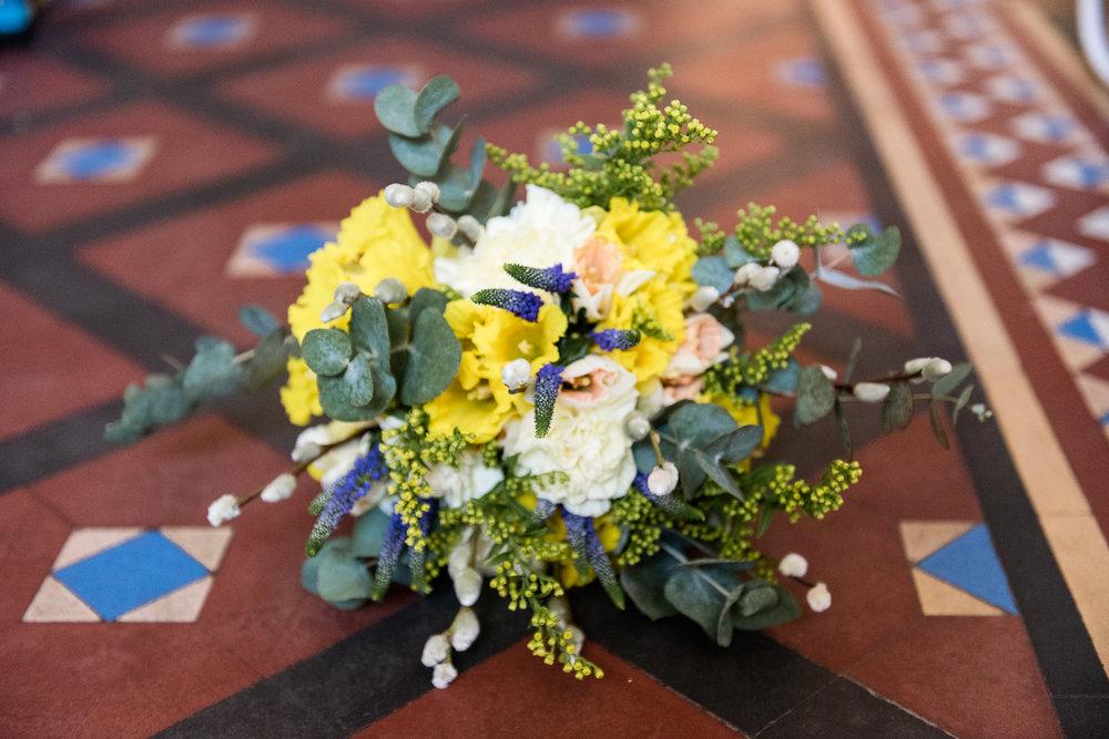 Stylish Sunny Spring Wedding at The Mill, Stone, Staffordshire Yellow Daffodills - Jenny Harper-11.jpg
