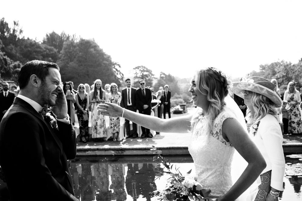 Summer Documentary Wedding Photography at Consall Hall Gardens Outdoor Ceremony Cockapoo dog - Jenny Harper-19.jpg