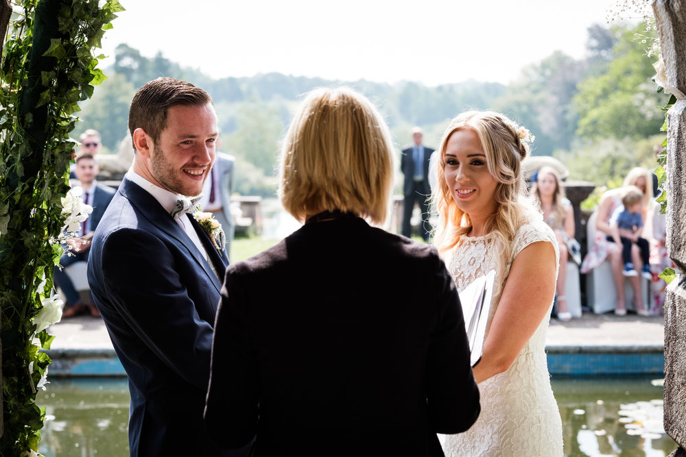 Summer Documentary Wedding Photography at Consall Hall Gardens Outdoor Ceremony Cockapoo dog - Jenny Harper-25.jpg