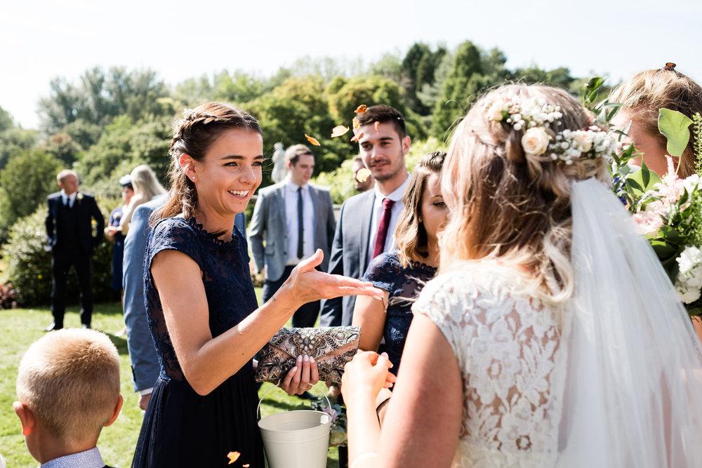 Summer Documentary Wedding Photography at Consall Hall Gardens Outdoor Ceremony Cockapoo dog - Jenny Harper-29.jpg