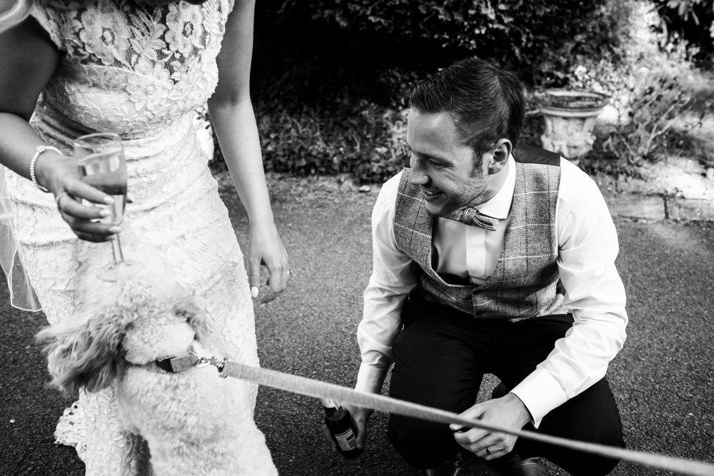 Summer Documentary Wedding Photography at Consall Hall Gardens Outdoor Ceremony Cockapoo dog - Jenny Harper-53.jpg